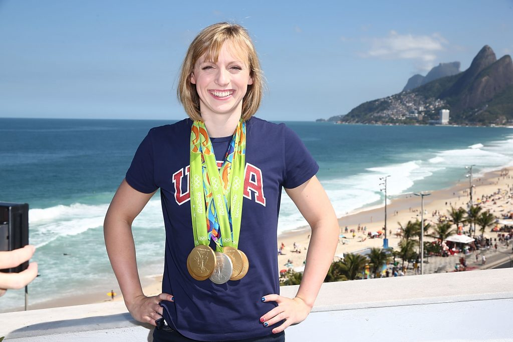 U.S. Olympian Katie Ledecky poses with her Olympic medals in Rio de Janeiro