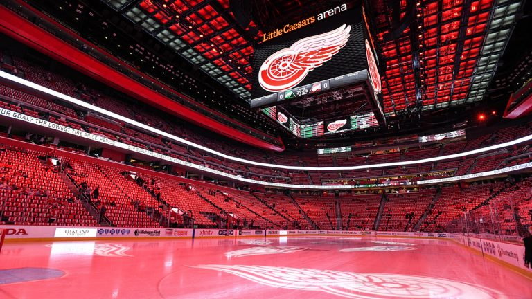 The Little Caesars Arena before a Detroit Red Wings Game