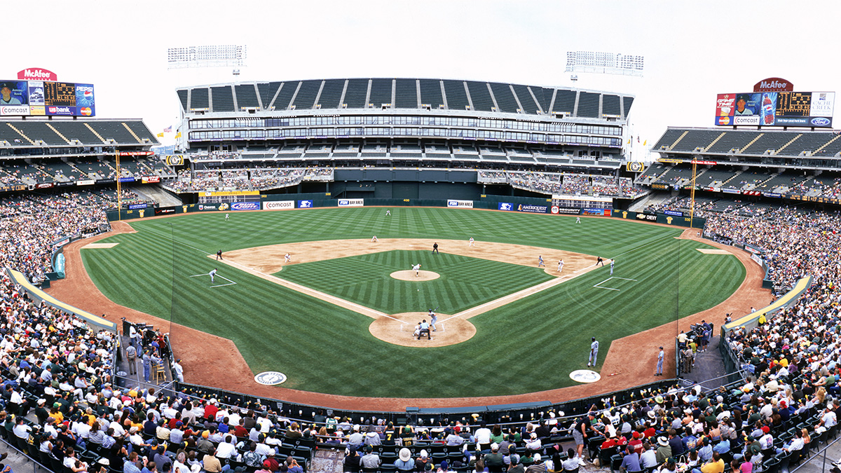 Panoramic view of McAfee Coliseum from behind home plate lower level during a game in 2005