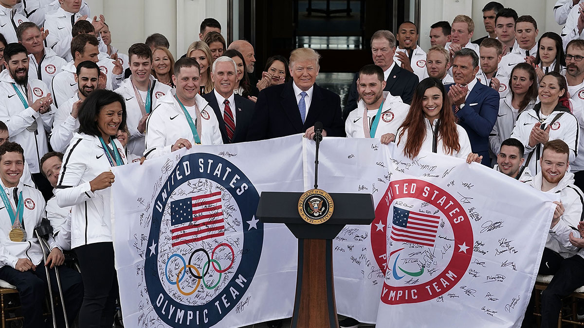 President Trump with Team USA at the North Portico of the White House