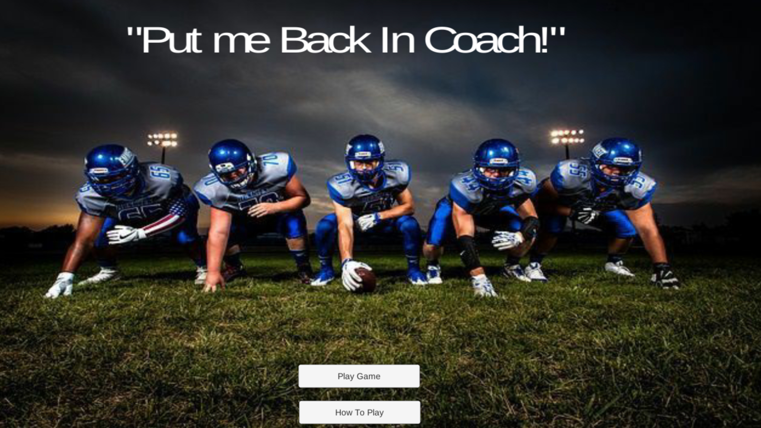 Intro screen to Put Me Back in Coach game