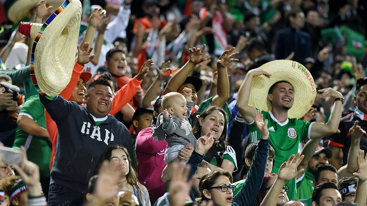Soccer fans celerate team Mexico during a game