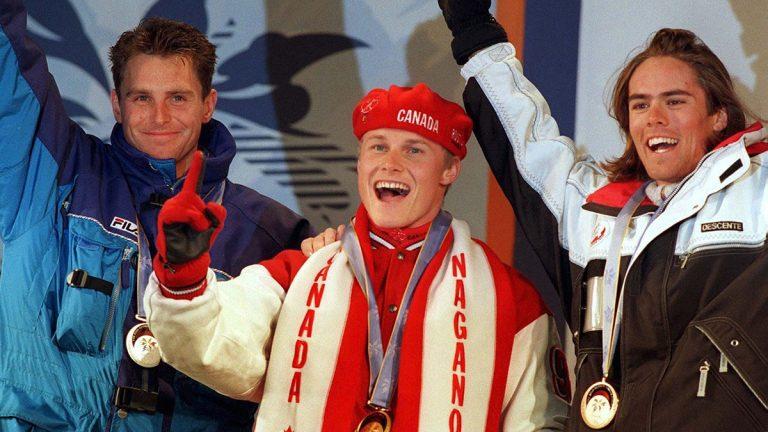 Ross Rebagliati celebrating with his medal