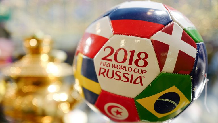The side of a soccer ball from the 2018 World Cup in Russia