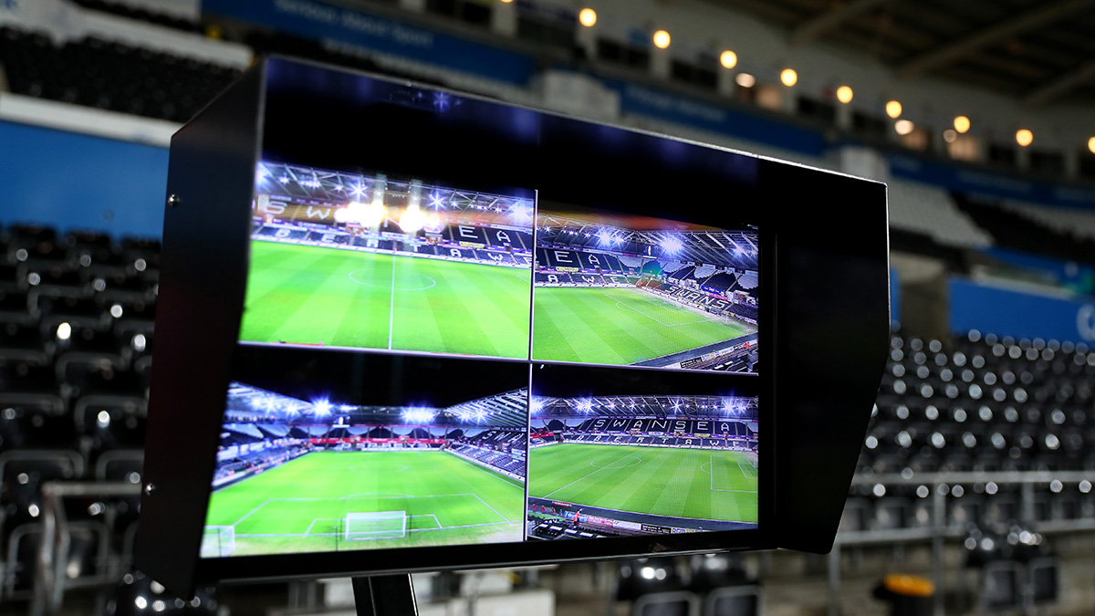 Video Assistant Referee (VAR) at a Swansea City Football Club match