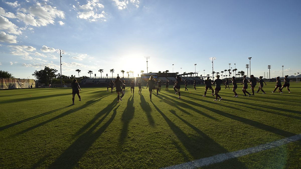 Sun devil soccer practices and conditions during sunset