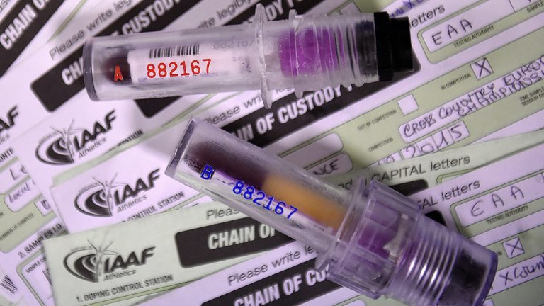 International Association of Athletics Federations vials for drug testing