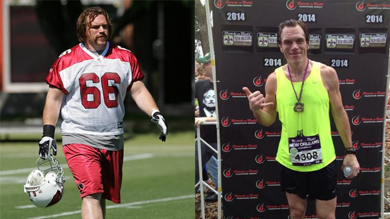 Transition of Alan Faneca's weight loss from Arizona Cardinals offensive lineman to marathon runner.