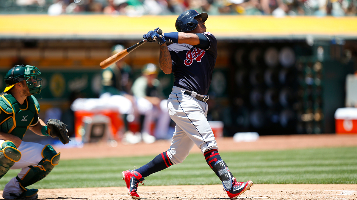 Jose Ramirez looking at ball after hit against the Oakland