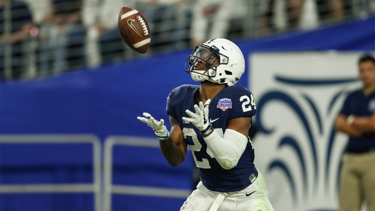 Miles Sanders receives a kickoff for Penn State at the 2017 Fiesta Bowl