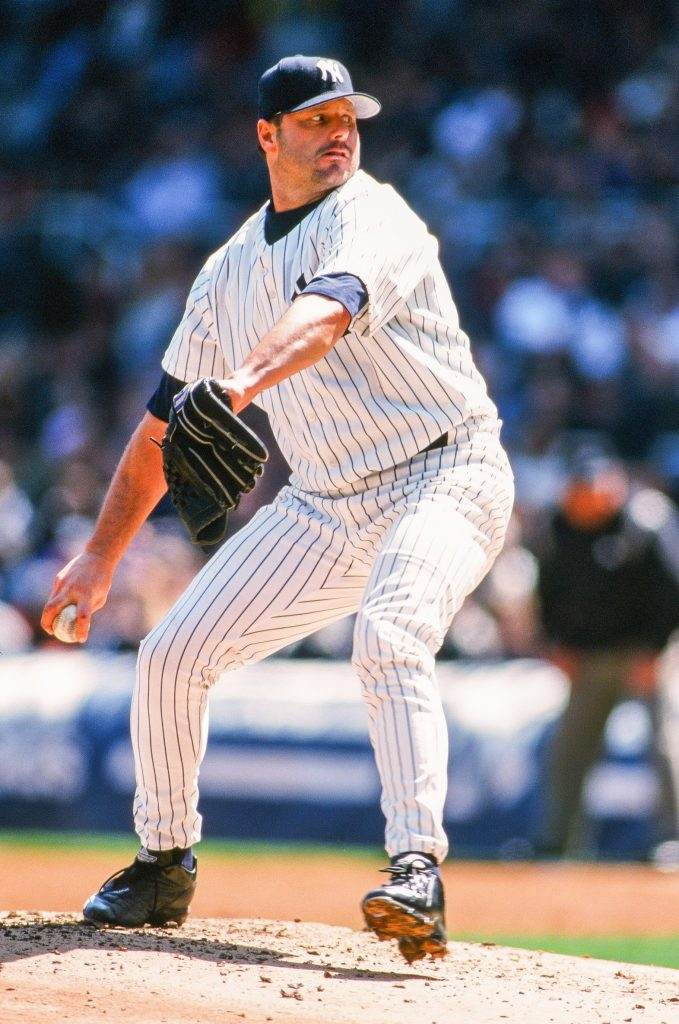 Roger Clemens throwing a pitch