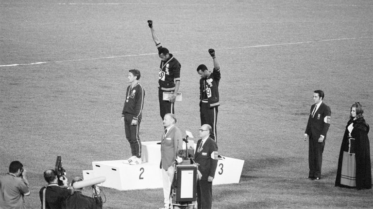 Tommie Smith, John Carlos, Peter Norman, Mexico City Olympics, raised fist