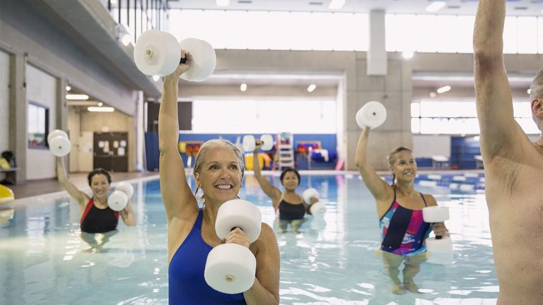 Group of middle aged women doing water aerobics