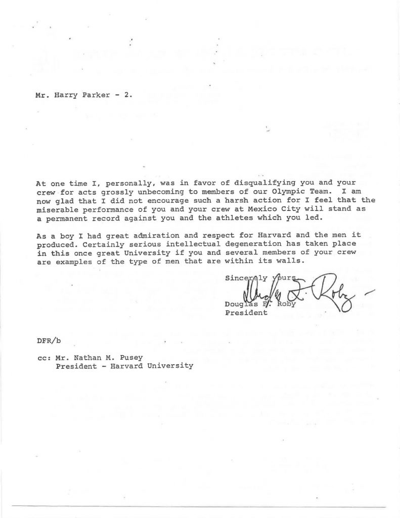 Letter from Douglas F. Roby to Harry Parker about Harvard rowing team