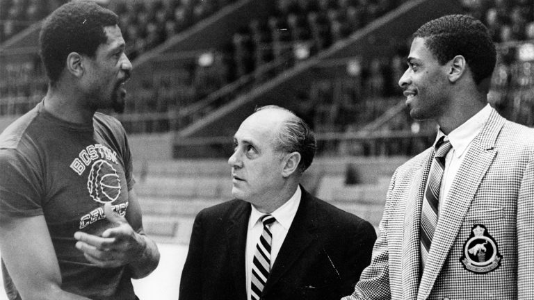 Bill Russell speaks to Red Auerbach and Don Chaney