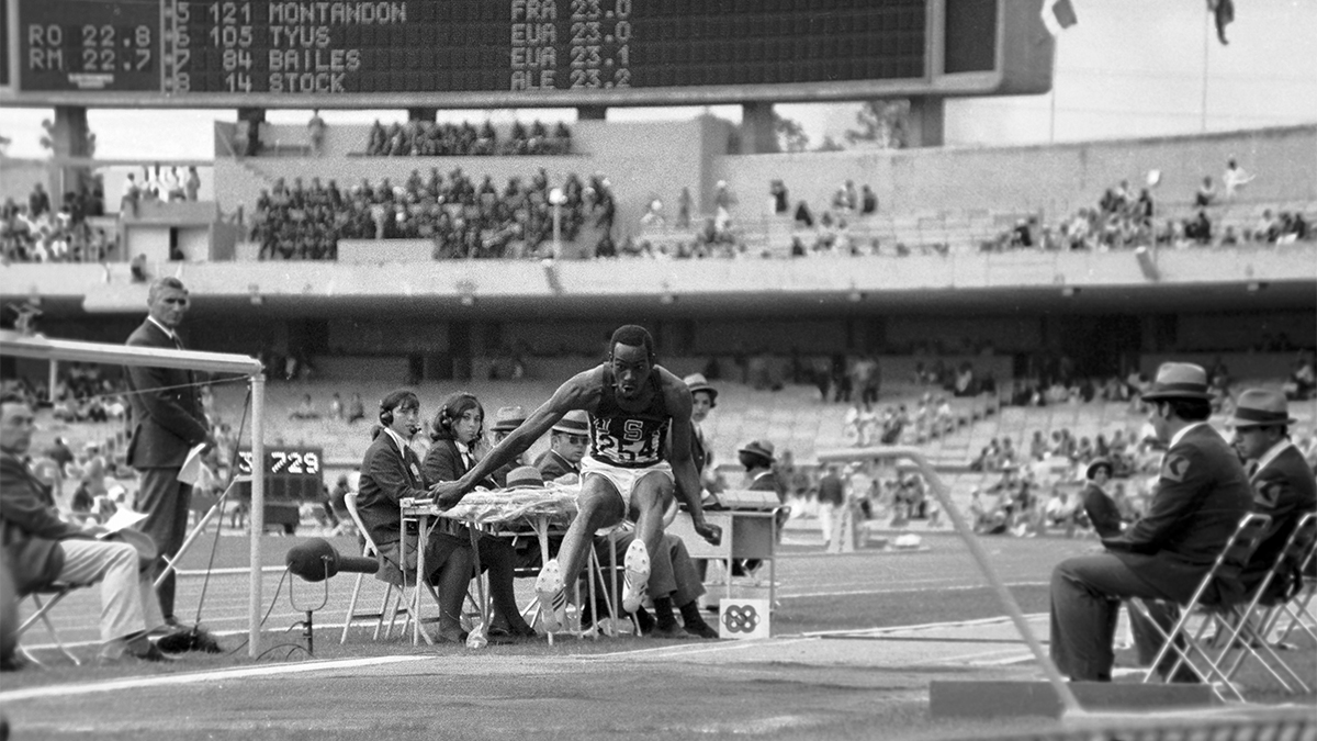 Bob Beamon makes his record-shattering long jump at the 1968 Olympics in Mexico City
