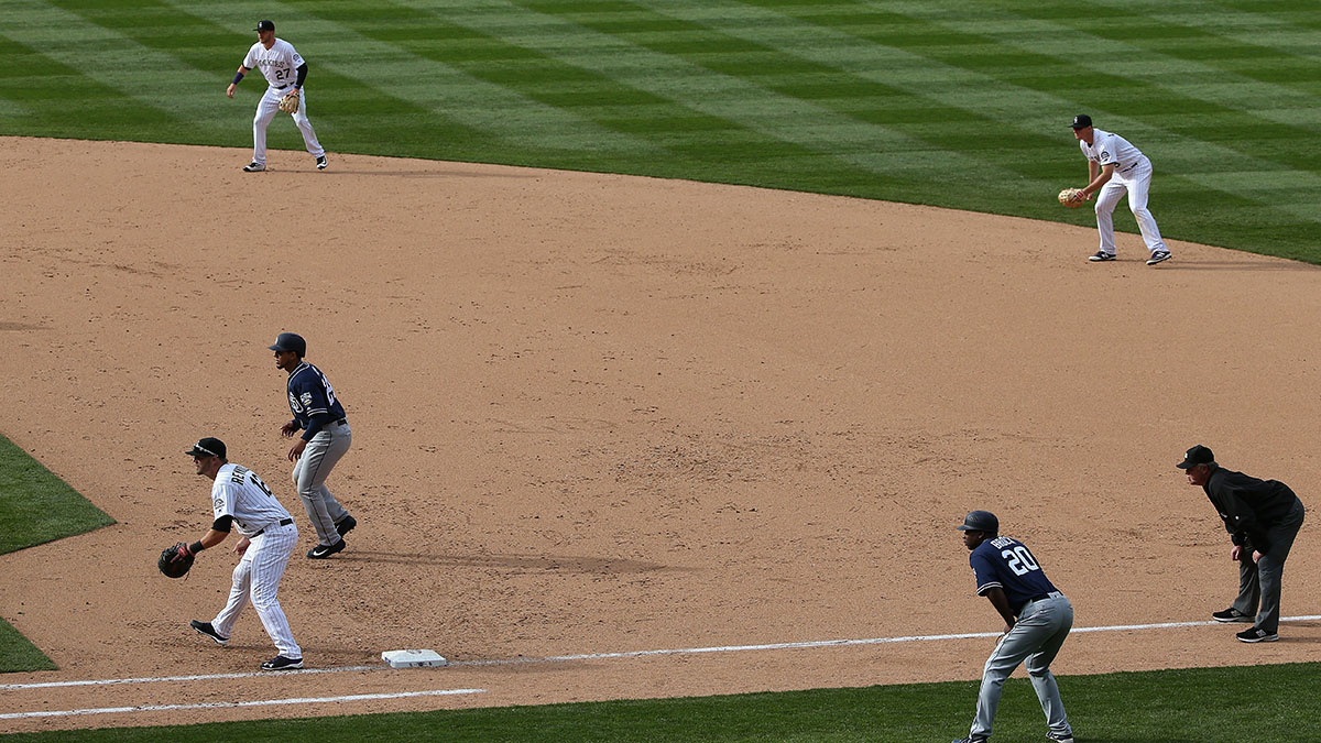 The Colorado Rockies play to the right of second base against the San Diego Padres
