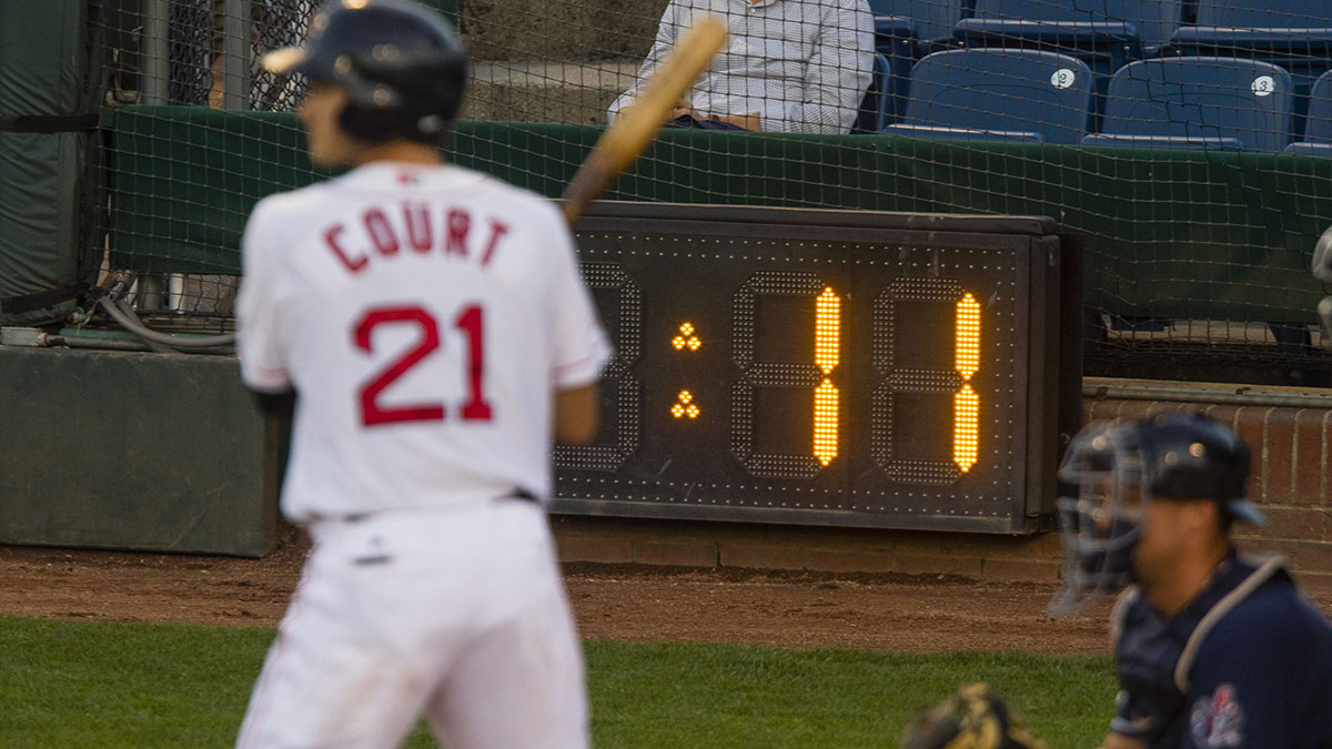 Portland Sea Dogs batter Ryan Court waits in the batters box for the pitch against the New Hampshire Fisher Cats