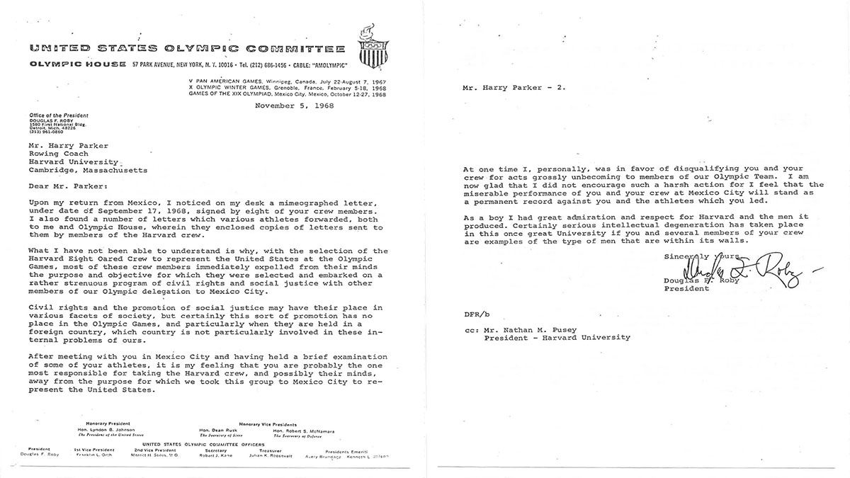 USOC President Doug Roby's 1968 letter to Harvard rowing