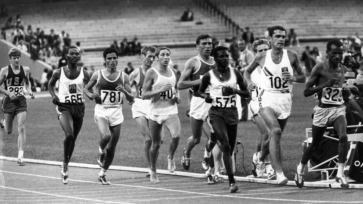 Contestants in the 10,000 metres event at the Olympic Games at Mexico City