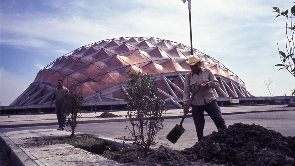 The Sports Palace nearing completion for the 1968 Olympics in Mexico City