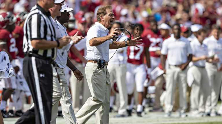 Head Coach Nick Saban yells during a game in September 2018