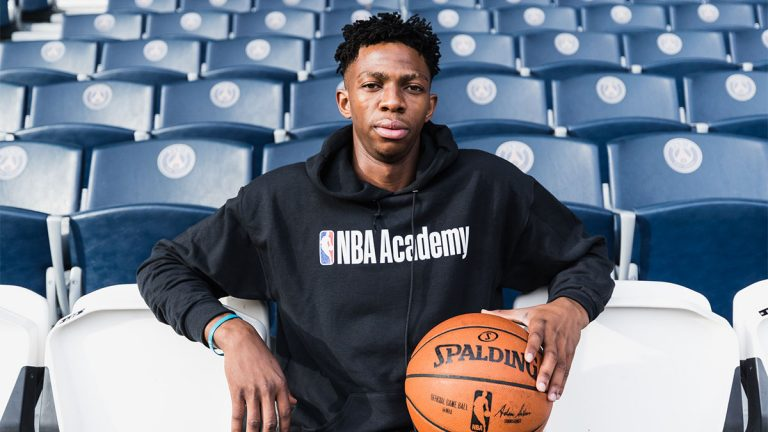 NBA Academy Graduate Patrick Mwamba poses for a photo