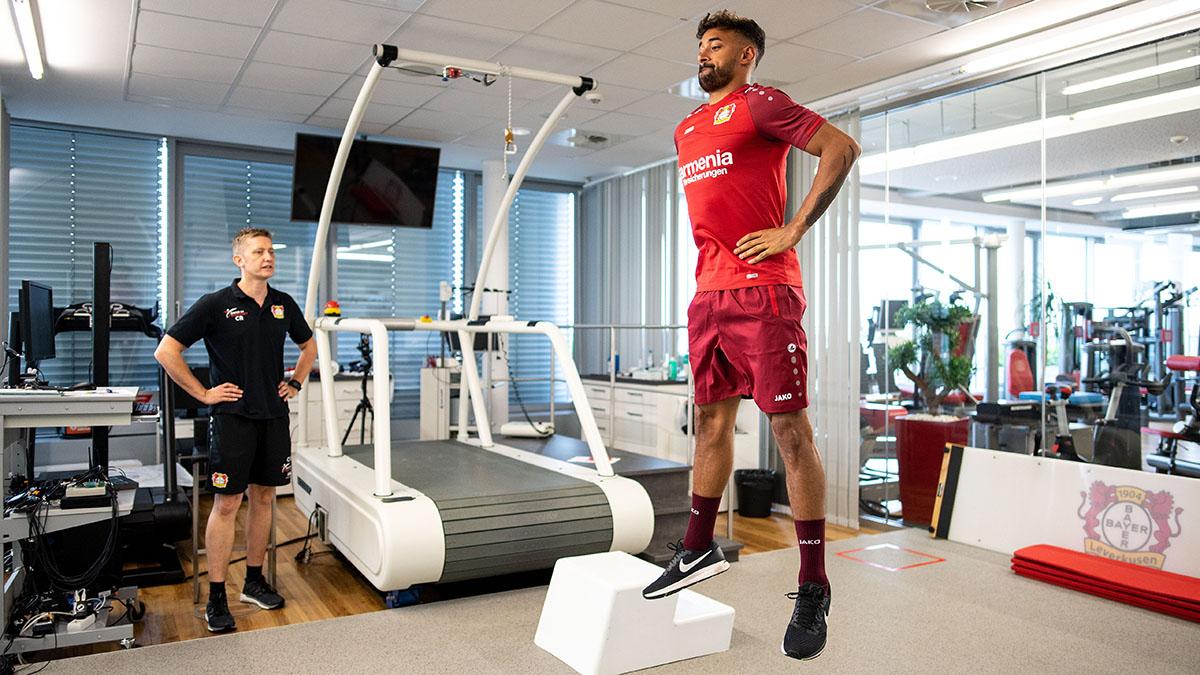 Bayer 04 Leverkusen player Karim Bellarabi takes part in a jump test