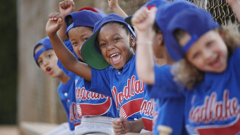Excited children's Little League team