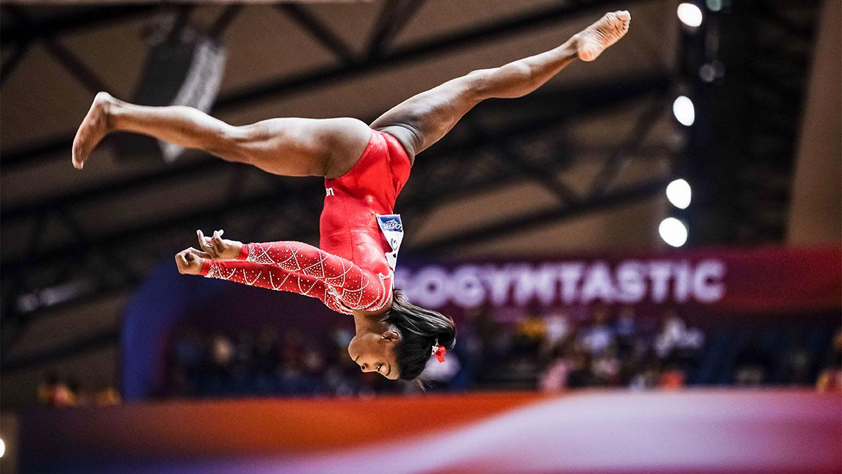 Simone Biles flipping in air