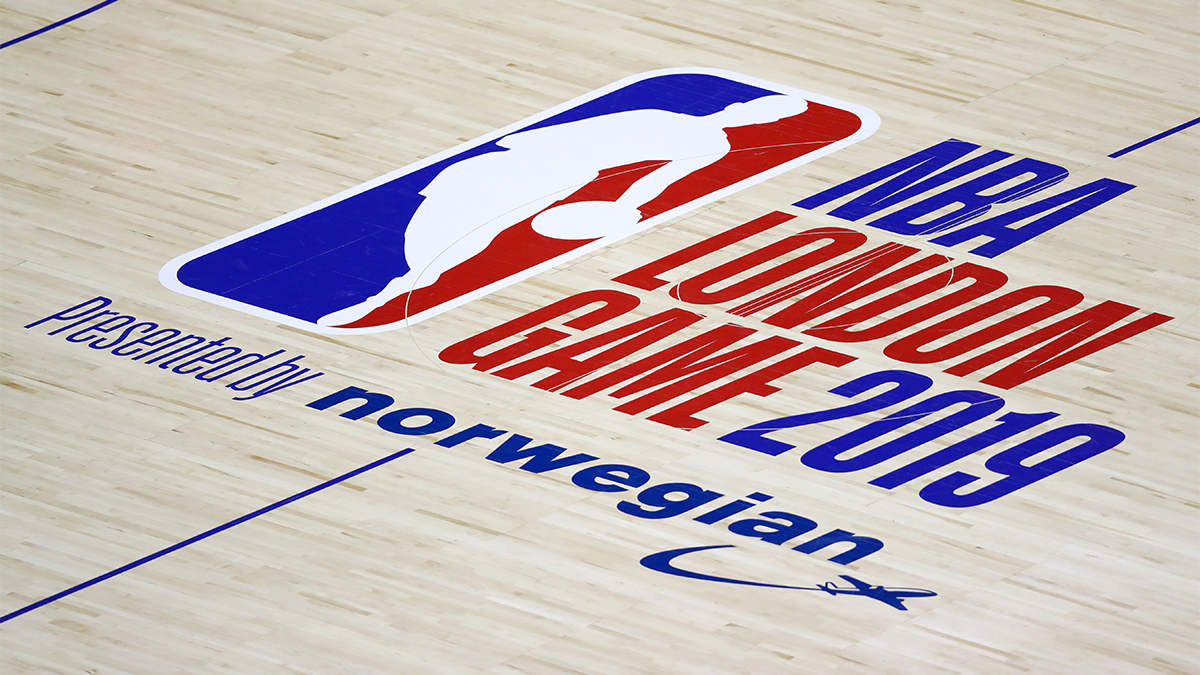 NBA London Game 2019 presented by Norwegian logo on a basketball court