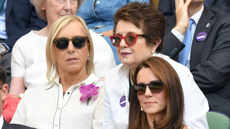 Former tennis players, Navralitova and Billie Jean King, in the crowd