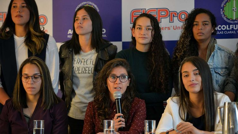 Colombian footballer Natalia Gaitan speaks during a press conference of the Colombian women's national football team.