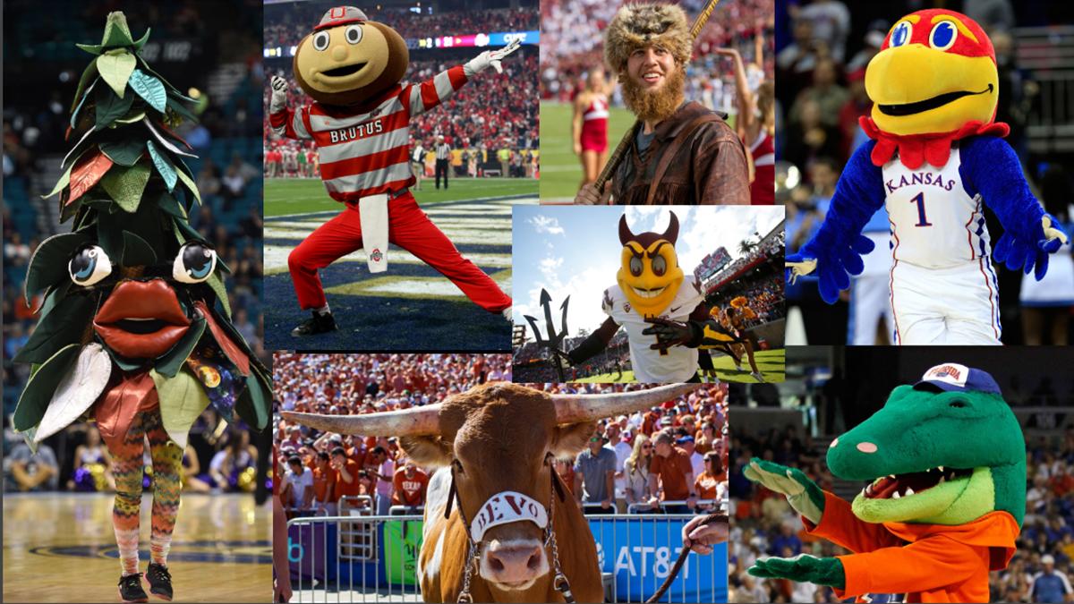 Stanford, Ohio State, Brutus Buckeye, Florida, Gators, Bevo, Texas, Mountaineers, West Virginia, Kansas, Jayhawks, Arizona State, Sparky