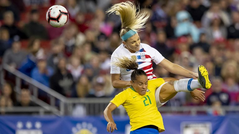 Julie Ertz of the U.S. heads the soccer all during the She Believes Cup in 2019
