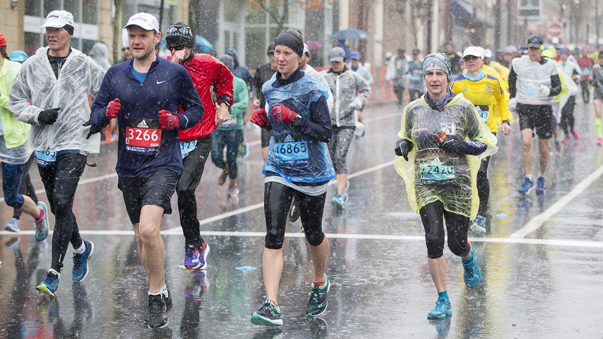2018 Boston Marathon, endurance, rain, women