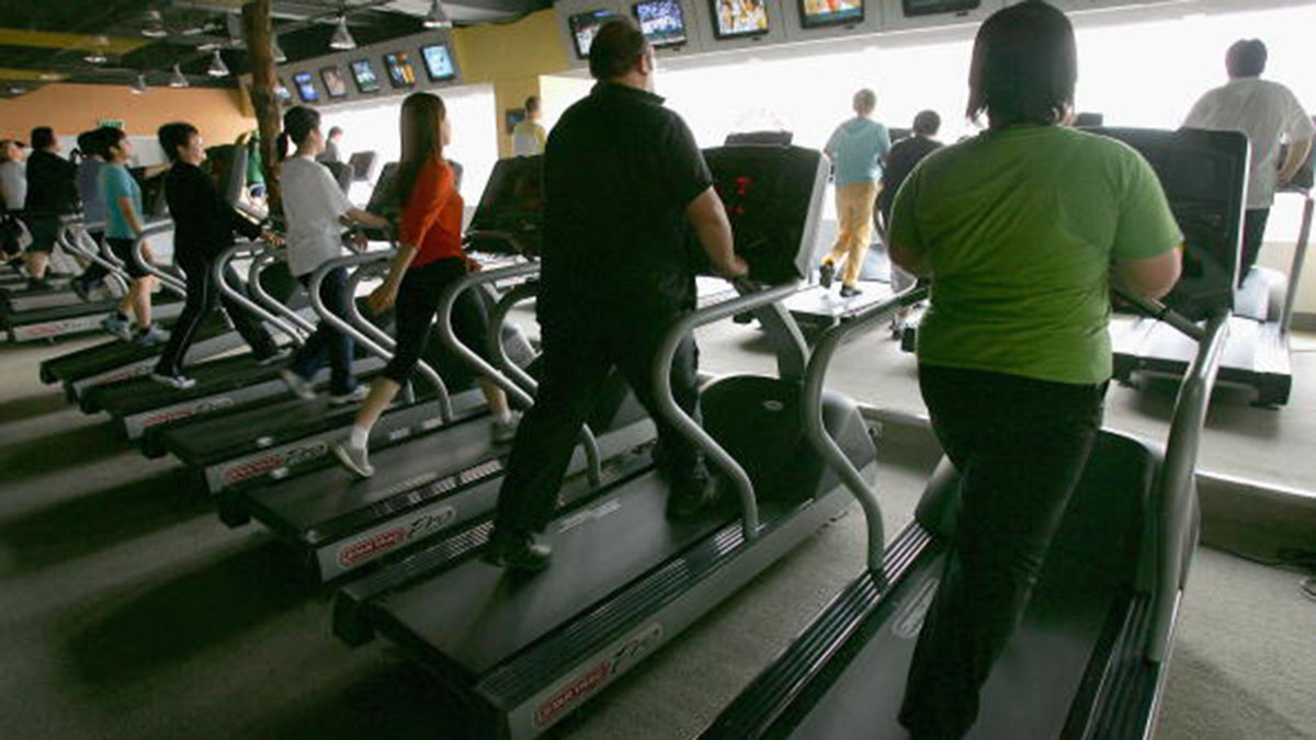 Group of people on the treadmill