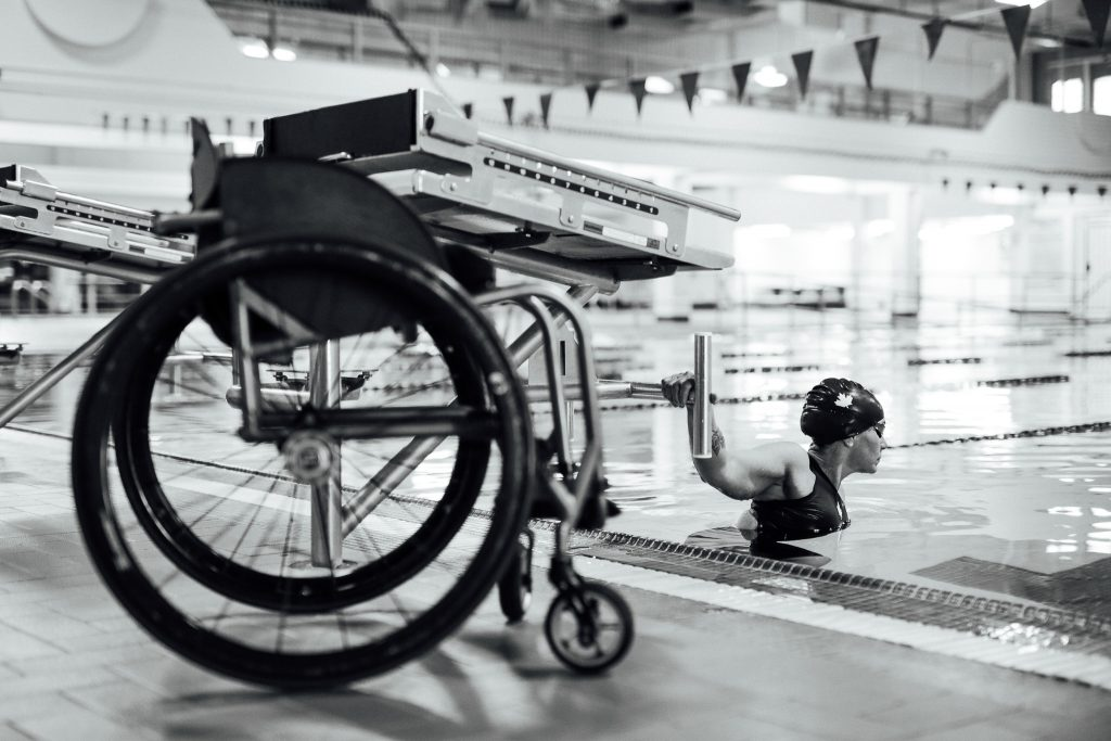Paralympic swimmer Tammy Cunnington trains at the Michener Aquatic Center in Red Deer, Alberta, Canada. (Photo by Lyndsay Doyle)