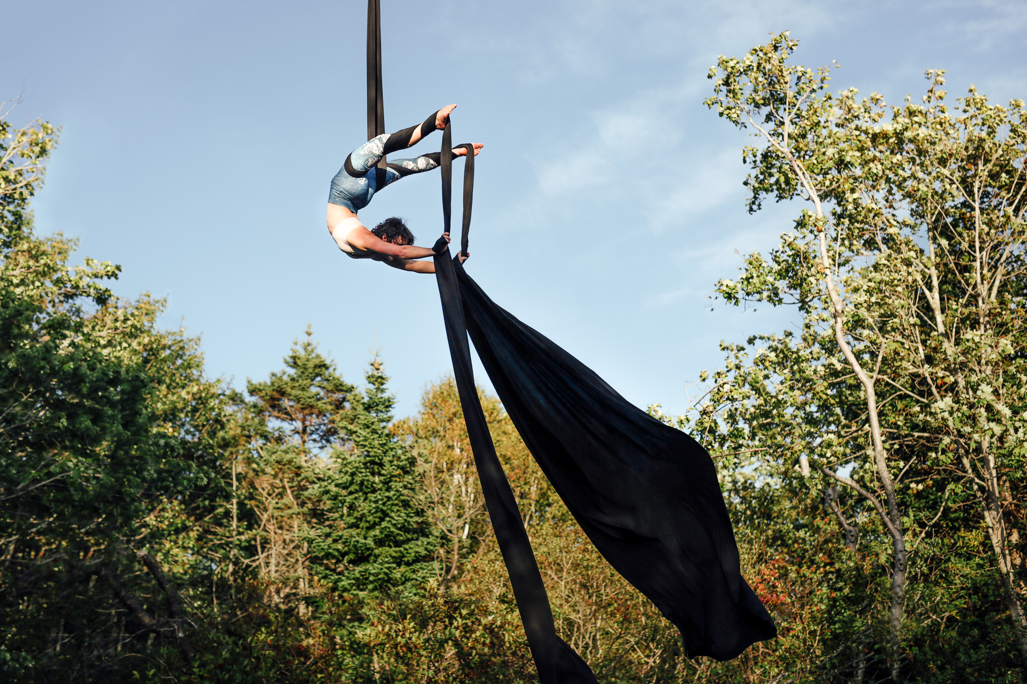 "Circus performer Angela Jackson trains on aerial silks in Halifax, Nova Scotia, Canada. (Photo by Lyndsay Doyle)"""
