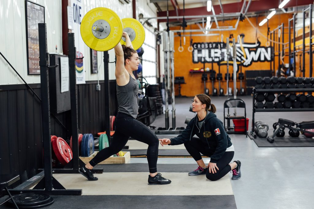 Amanda Thompson coaches Olympic weightlifter Thea Wall in Truro, Nova Scotia, Canada. (Photo by Lyndsay Doyle)
