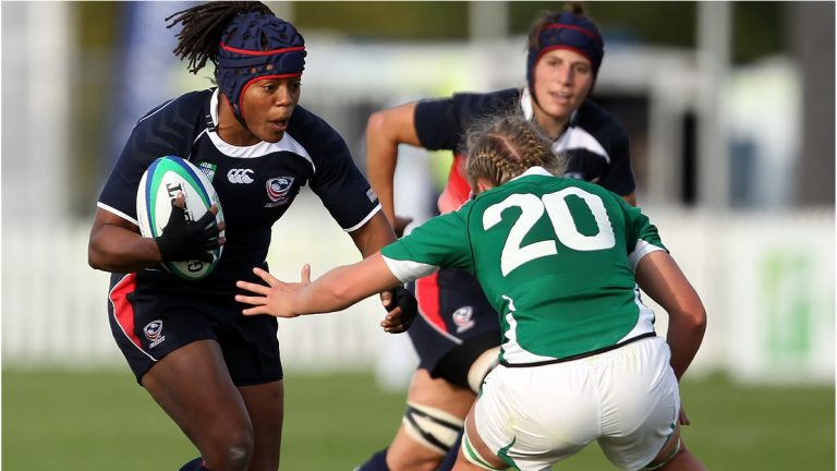 Phaidra Knight of the USA playing against Ireland during the IRB 2010 Women's Rugby World Cup. (Photo by Bryn Lennon/Getty Images)