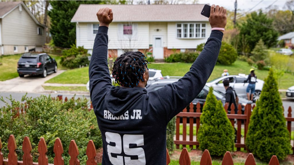 LANHAM, MARYLAND - APRIL 25: Maryland Terrapins Antoine Brooks Jr. celebrates being drafted in the sixth round by the Pittsburgh Steelers on April 25, 2020 at home in Lanham, Maryland. (Photo by Elliott Brown/E and P Phtography/Getty Images)