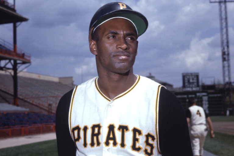 Outfielder Roberto Clemente of the Pittsburgh Pirates posing for a portrait.