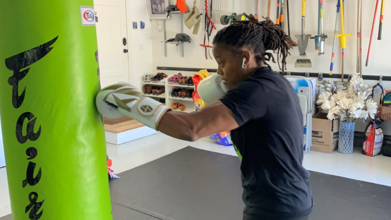 Phaidra Knight working out in her gym.