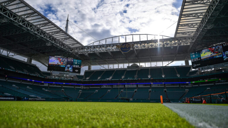 Field view of the Miami Dolphin's Hard Rock Stadium in Florida