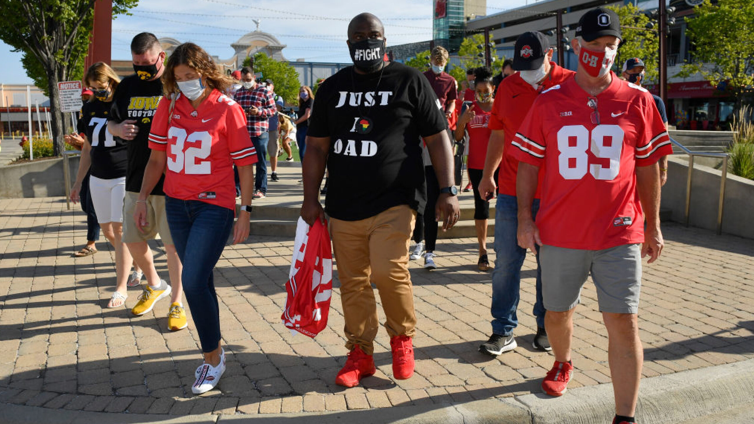 ROSEMONT, ILLINOIS - AUGUST 21: Randy Wade, father of Shaun Wade of the Ohio State Buckeyes, marches during a parent rally outside of the Big Ten Conference headquarters on August 21, 2020 in Rosemont, Illinois. The Big Ten conference made the decision to delay the fall football season until the spring to protect players and staff as transmission of the COVID-19 virus continues to rise. (Photo by Quinn Harris/Getty Images)
