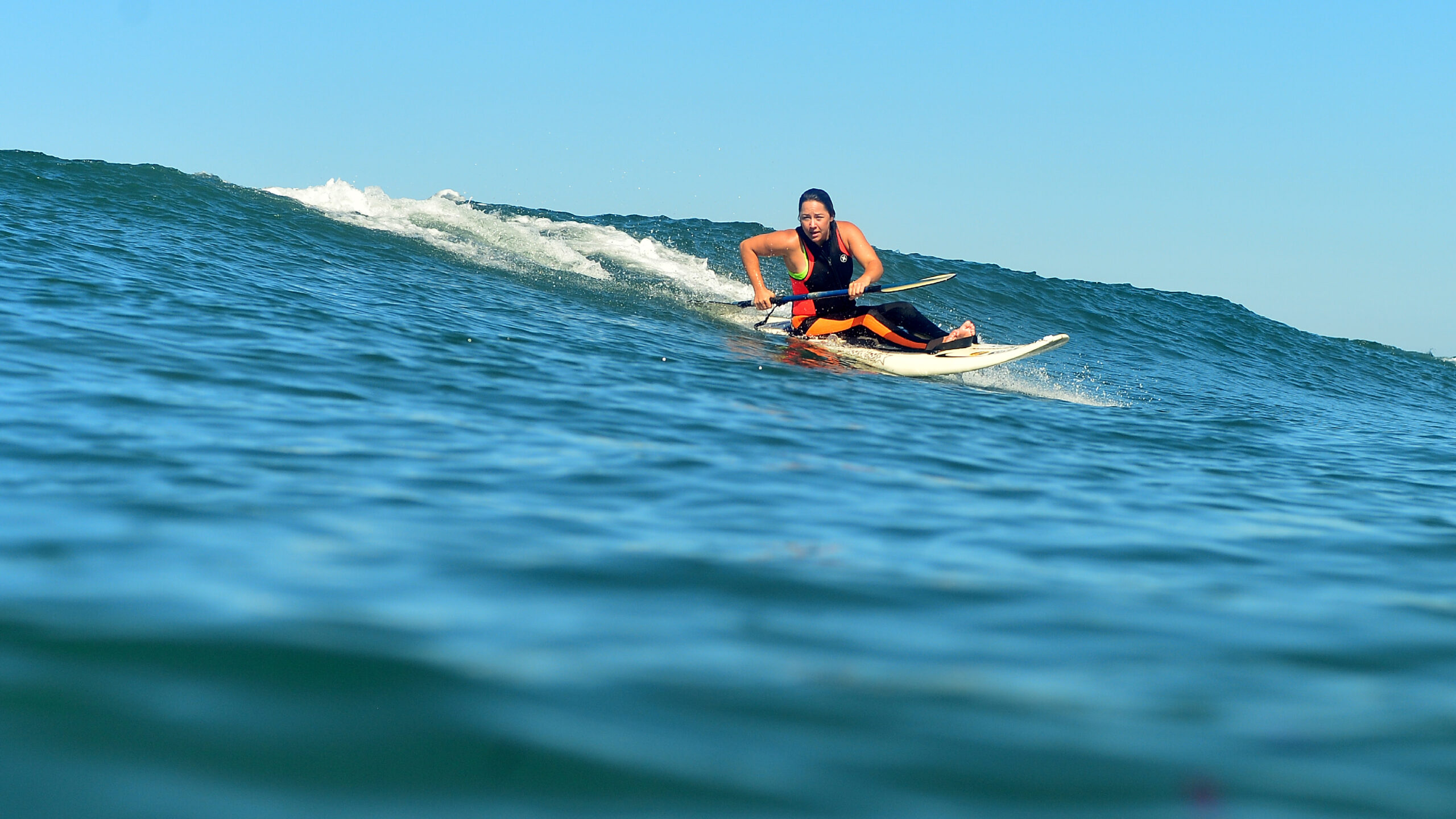 Alana Nichols, a five-time Paralympian, participates in adaptive surfing. Photo: Robert Beck/ESPN