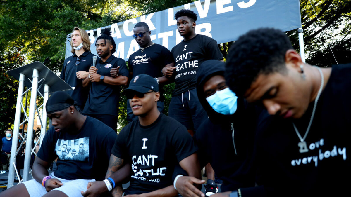 Clemson Football players supporting Black Lives Matter Movement