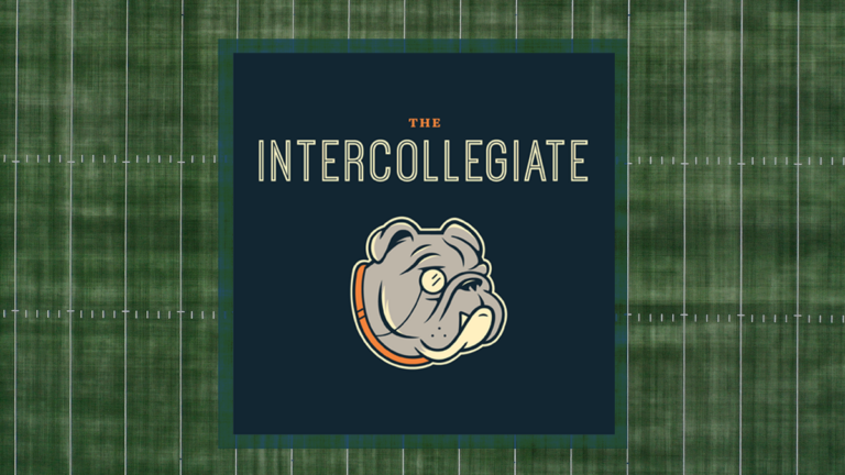 The Intercollegiate logo with green and navy background and a bull dog