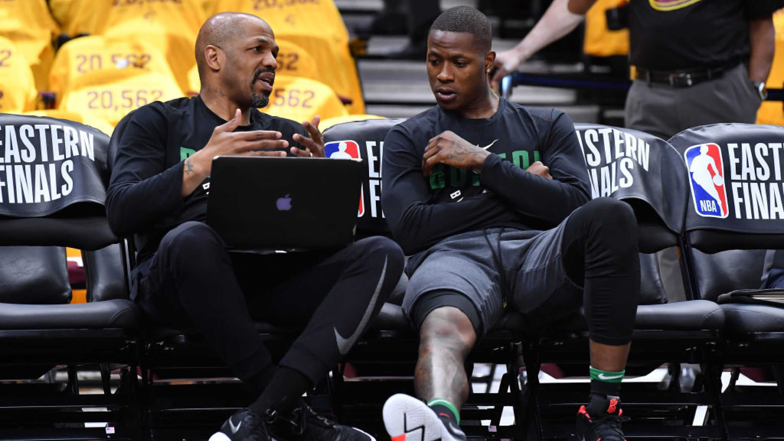 CLEVELAND, OH - MAY 21: Boston Celtics assistant coach Jerome Allen speaks to Terry Rozier #12 before Game Four of the 2018 NBA Eastern Conference Finals against the Cleveland Cavaliers at Quicken Loans Arena on May 21, 2018 in Cleveland, Ohio. (Photo by Jamie Sabau/Getty Images)